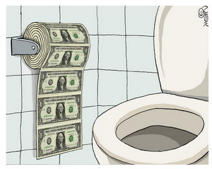 Toilet Paper made of Cash