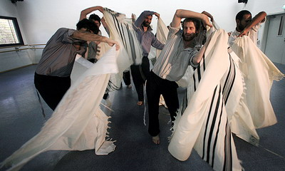 Dancing Group of Religious Men in Israel