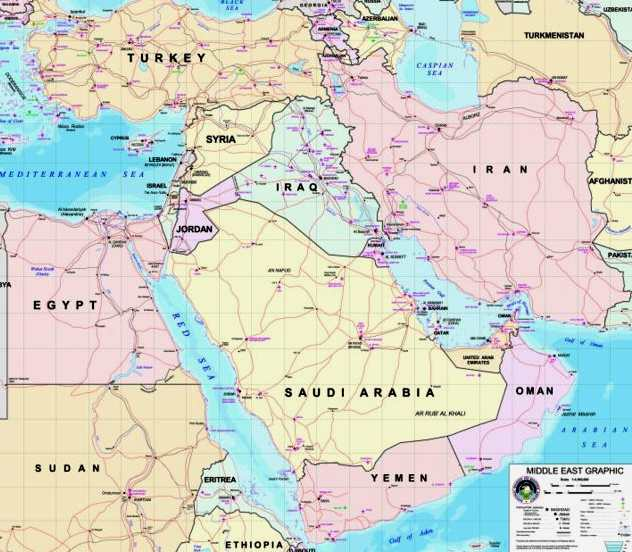 Map Of Middle East And Europe. Middle East