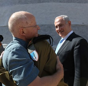 Gilad Shalit hugged by his father