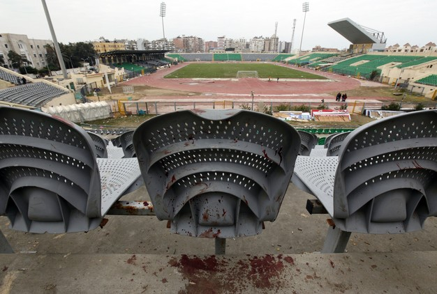 Blood is seen on a chair one day after supporters clashed at the Port Said stadium